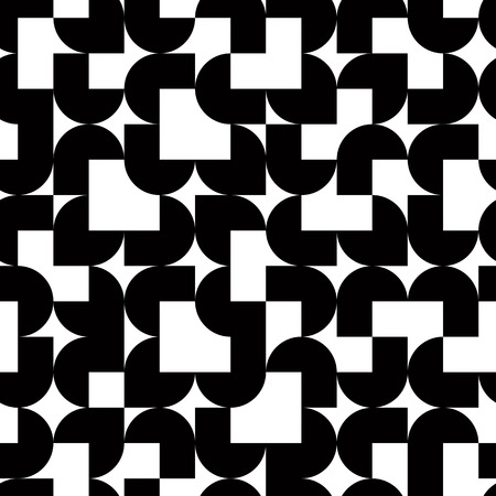 covering cells: Black and white solid geometric seamless pattern, vector contrast squared background. Illustration