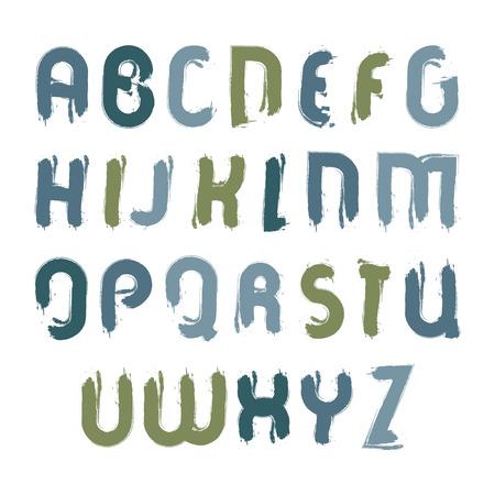 벡터 아크릴 글꼴, 화이트, 필기 수채화 대문자 잉크 브러시로 그려진 특이 한 밝은 서체를 페인트 브러시로 얼룩진 글꼴. 일러스트