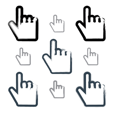 touch screen interface: Set of point hand gestures created with real hand-drawn ink brush, scanned and vectorized. Collection of monochrome brush drawing touch screen simple vector icons, hand-painted user interface symbols isolated on white background.