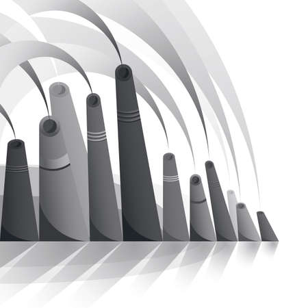 harmful to the environment: Monochromatic factory pipes with smoke on white background.
