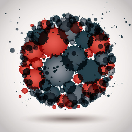 spherical: Colorful spherical spotted, decorative icon. Illustration