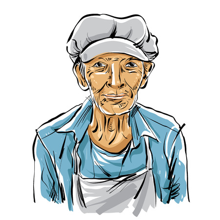 Hand drawn illustration of an old man on white background, grey-haired man with hat. Illustration