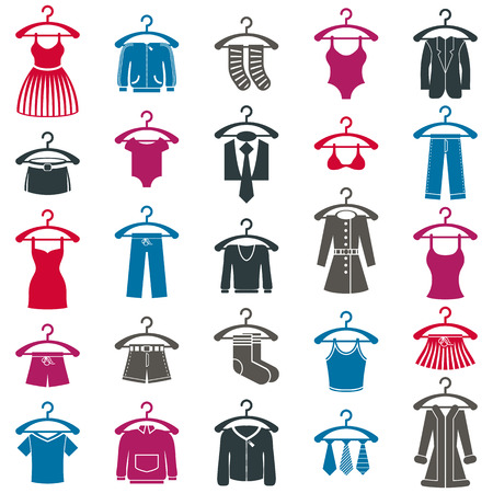 shirts on hangers: Clothes icon set, vector collection of fashion signs.