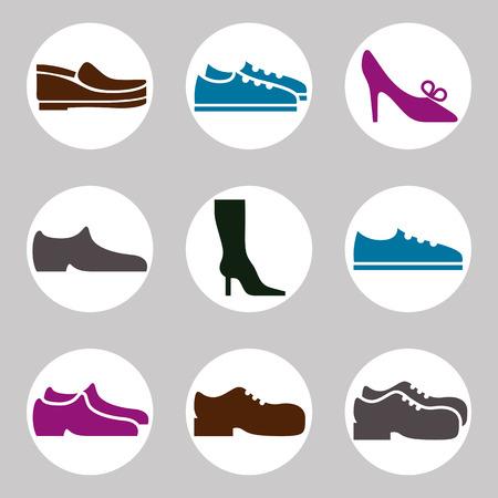 Footwear icon vector set, vector collection of shoes pictograms. Vector