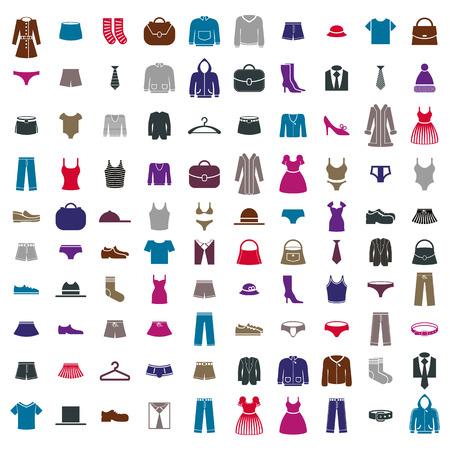 Kleren pictogram vector set, vector collectie van mode tekens en symbolen. Stock Illustratie