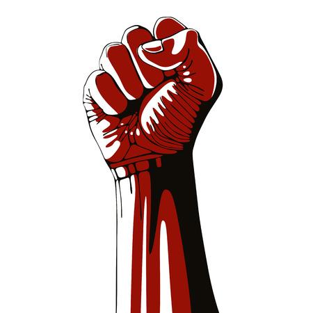 Сжатый кулак высоко поднятой в знак протеста, изолированных на белом фоне, векторные иллюстрации.