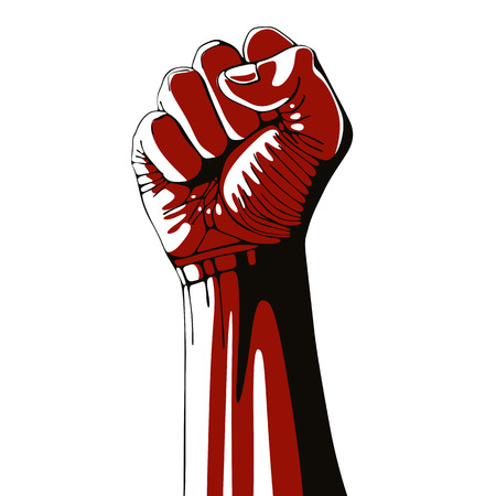 Clenched fist held high in protest isolated on white background, vector illustration. 矢量图像