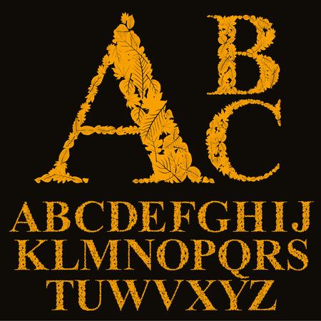 Floral font made with leaves, natural alphabet letters set, vector design. Illustration