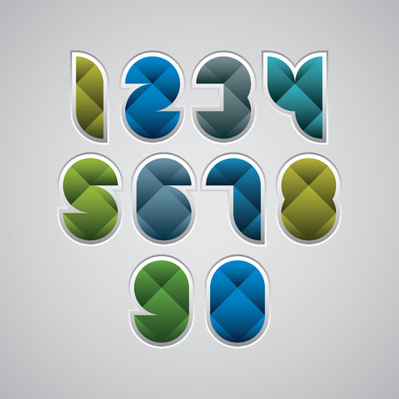 Colorful spherical geometric sectored numbers with diagonal crossing and white outline. Vector