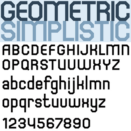 facet: Poster black bold font and numbers, facet geometric letters. Illustration