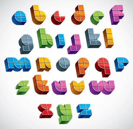 verbs: 3d futuristic font made with boxes, vector bright and colorful letters, geometric dimensional alphabet, best for use in advertising and web design.
