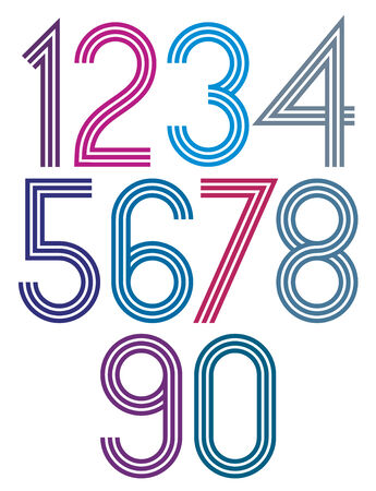 Rounded big colorful numbers with triple stripes on white background. Ilustração