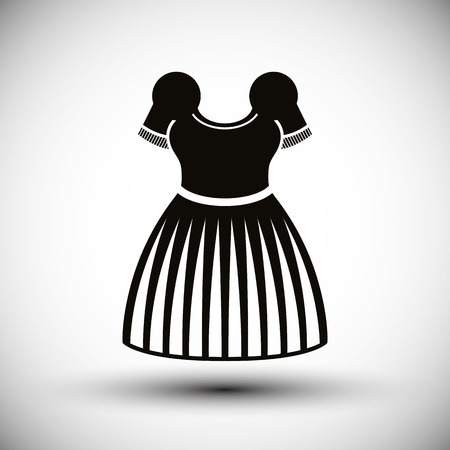 petticoat: Cloth icon, vector illustration of dress with a skirt.