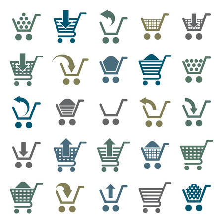 empty shopping cart: Shopping cart icons isolated on white background vector set, supermarket shopping simplistic symbols vector collections.