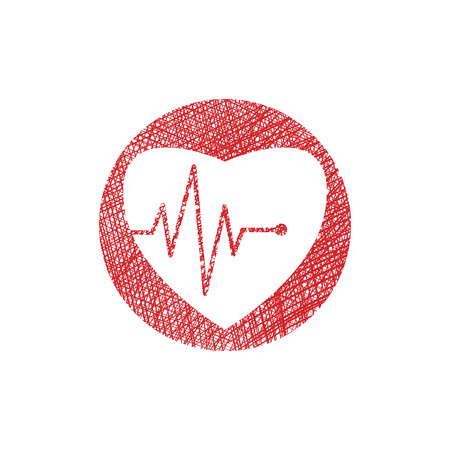 Cardiology icon with heart and cardiogram, vector icon with hand drawn lines texture. Illustration