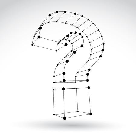 punctuation mark: 3d malla estilo monocromo web signo de interrogaci�n signo aislado sobre fondo blanco, elegante icono consulta carcasa blanco y negro, dimensiones boceto marca puntuacion tecnolog�a, individuales eps claro color ilustraci�n vectorial 8. Vectores