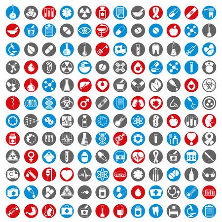 Iconos médicos, conjunto de vector de 144 signos médicos y medicinas.