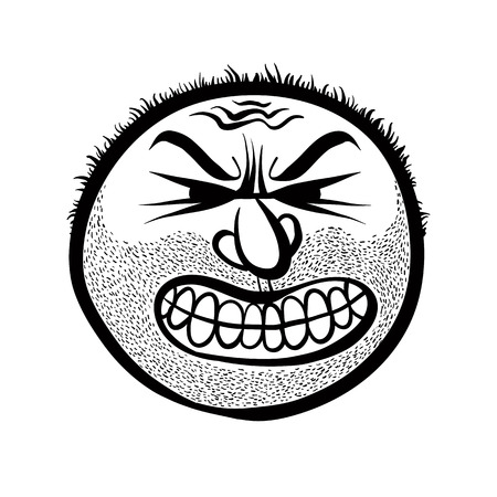 nutty: Angry cartoon face with stubble, vector illustration. Illustration