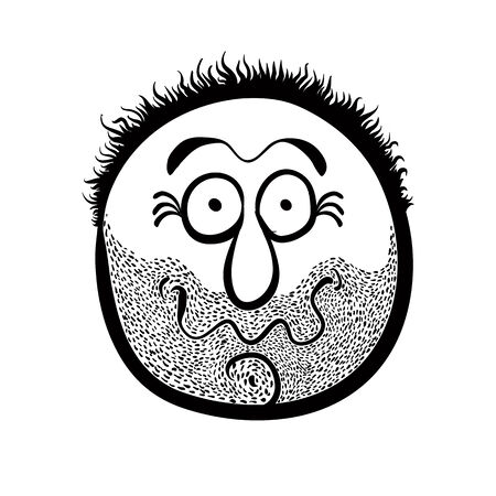 Funny cartoon face with stubble, black and white lines vector illustration.