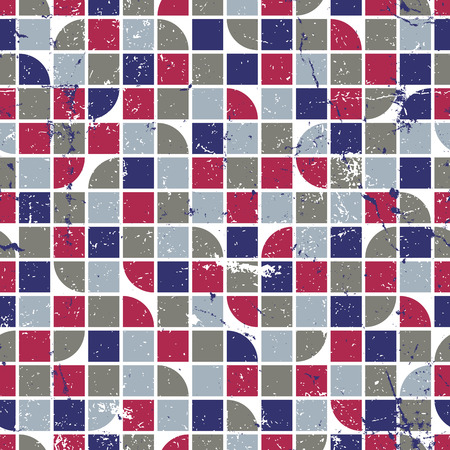 covering cells: Vector geometric colorful textile abstract seamless pattern, squared mosaic canvas with white outline.