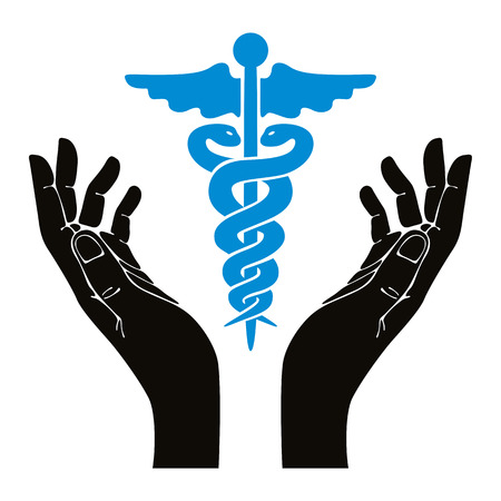 Hands with caduceus vector symbol. Vector