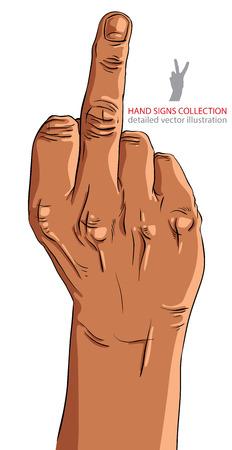 obscene: Middle finger hand sign, African ethnicity, detailed vector illustration.