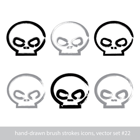 sapiens: Set of brush drawing simple human skulls, collection of stroke painted medicine icons created with real hand drawn ink brush scanned and vectorized.  Illustration