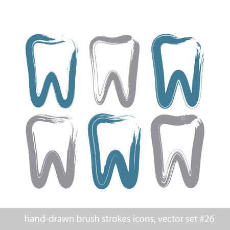 Set of stroke hand-drawn simple tooth icons, real ink brush drawing tooth symbols, hand-painted silhouette of grinder isolated on white background.  Illustration