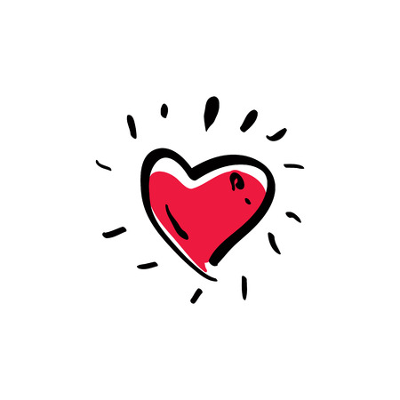 Illustrated red love heart isolated on white background, vector valentine icon.