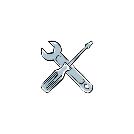 Vector repair icon, illustrated instruments. Vector