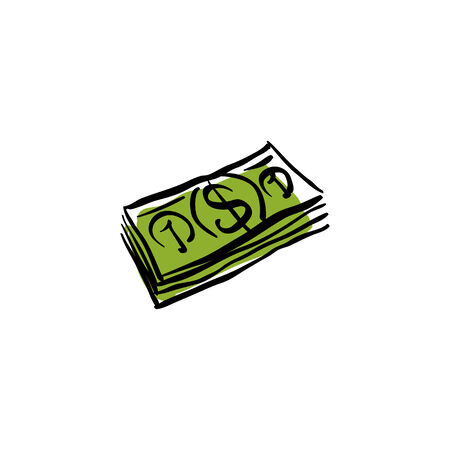 money packet: Vector green money packet icon, hand drawn bundle of money.