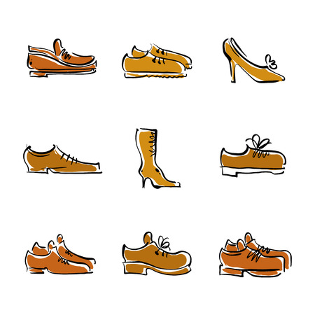 lacing sneakers: Vector collection of shoes, illustrated footwear.  Illustration