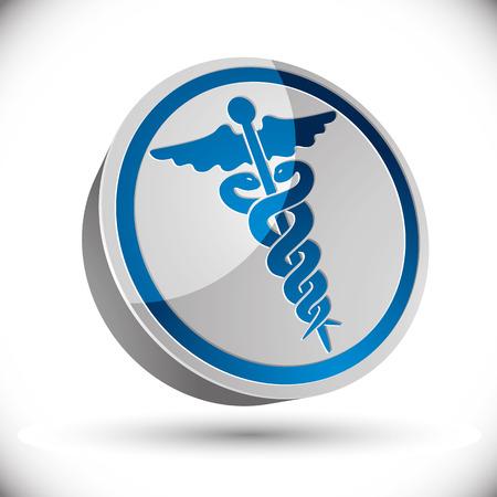 emblem for drugstore or medicine: Caduceus medical symbol, 3d vector icon or emblem. Illustration