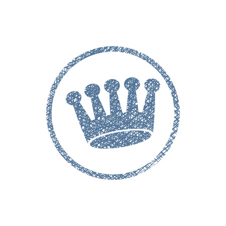 Crown icon, vector symbol with hand drawn lines texture.