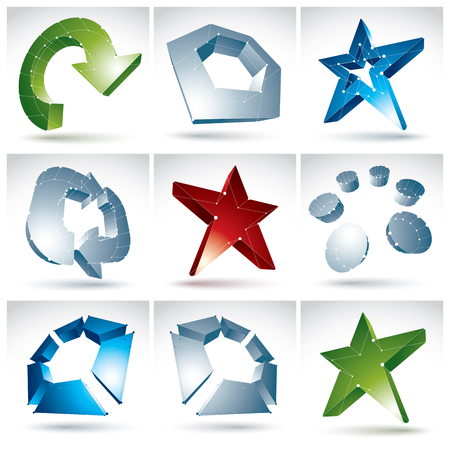 Set of 3d mesh colorful abstract objects isolated on white background, collection of stylish geometric icons, bright dimensional tech symbols with white connected lines, clear eps 8 vector illustration. Multicolored stars, arrows, abstract elements and re Vector