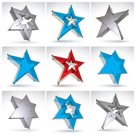 communistic: Set of 3d mesh stars isolated on white background, collection of colorful elegant lattice superstar icons, monochrome dimensional tech pentagonal objects with black connected lines, clear eps 8 vector illustration, pop star icons. Illustration