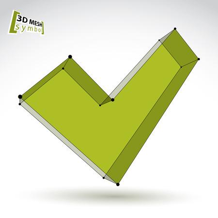 verify: Mesh 3D colorato segno convalida isolato su sfondo bianco, icona eco segno di spunta, luminoso tecnologia dimensionale verificare simbolo, eps chiare illustrazione vettoriale 8.