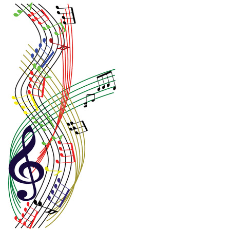 Music notes composition, stylish musical theme background, vector illustration. Vector
