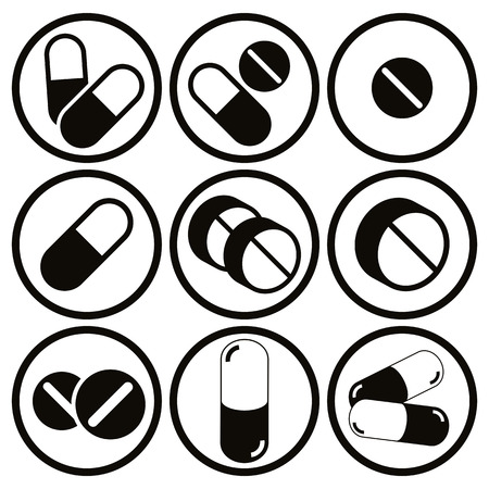 drugs pills: Pills and capsules icon set, single color vectors collection. Illustration