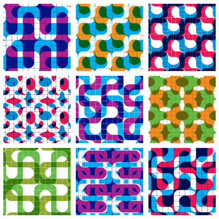 grating: Set of multicolored grate seamless patterns with labyrinth and geometric figures, transparent symmetric bright wavy tiles, infinite geometric surface textures with squares and abstract figures, colorful decorative tiling.