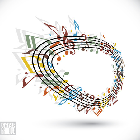 musical notation: Vector bright expressive rounded stave with musical notes on white background, decorative major musical notation.