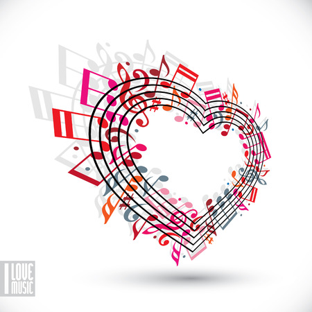 design media love: I love music concept. Heart made with musical notes and clef, contain copy space inside for your text, music theme vector design template.