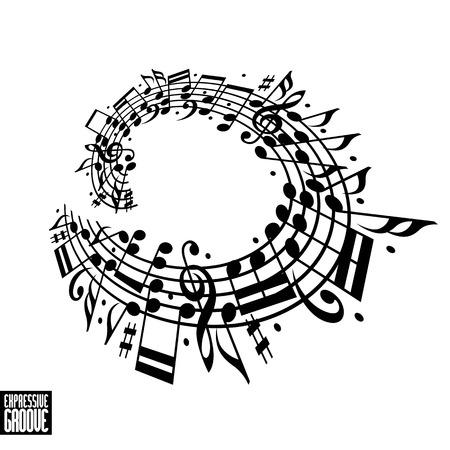Expressieve groove concept. Zwart-wit ontwerp. Muziek achtergrond met sleutel en nota's, muzikaal thema sjabloon voor uw ontwerp.