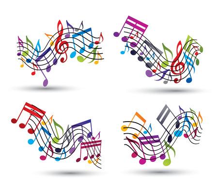 notas musicales: Vector brillante alegre pentagramas con las notas musicales sobre fondo blanco, decorativo conjunto ondulado s�mbolo importante de la notaci�n musical. Vectores