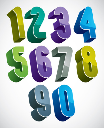 3d numbers set in blue and green colors made with round shapes, colorful glossy numerals for advertising and web design.