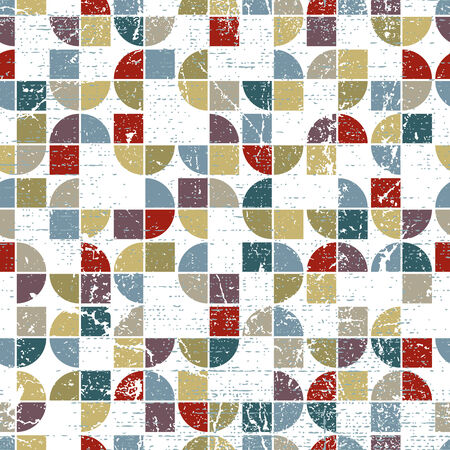 covering cells: Vector geometric textile abstract seamless pattern, spotted tattered mosaic canvas.