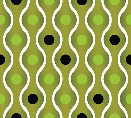 simplistic: Simplistic green wavy lines and dots seamless pattern, vector background.