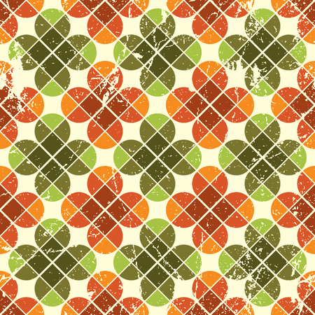 Vintage floral seamless pattern, bright geometric abstract backdrop.  Vector