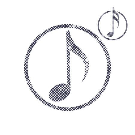 melodies: Music note icon with halftone dots print texture. Macro newspaper style vector symbol. 2 versions set. Illustration