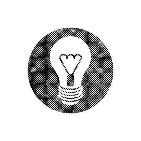 Light bulb vector icon with pixel print halftone dots texture. Vector
